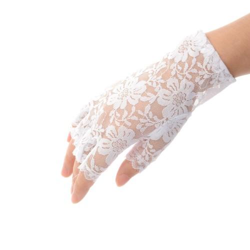 Αποκριάτικα γάντια κοφτά δαντέλα 2 χρώματα 15268