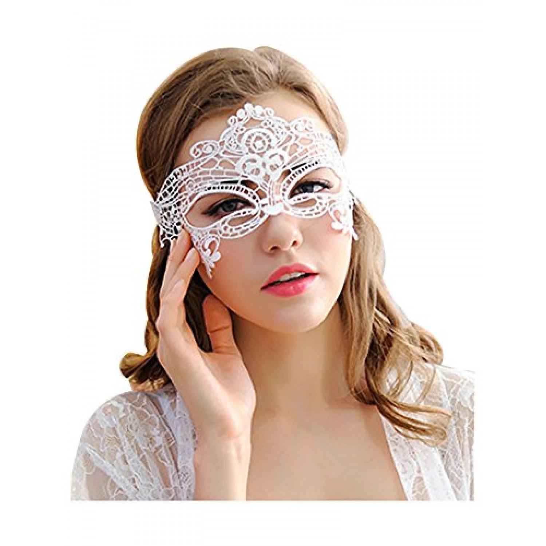 Μάσκα ματιών δαντέλα λευκή 80630 Αποκριάτικα